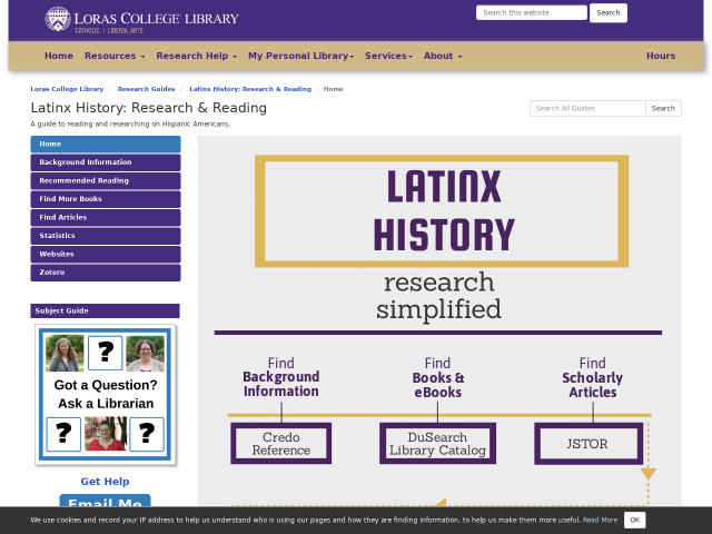 image of library guide to latinx research and reading
